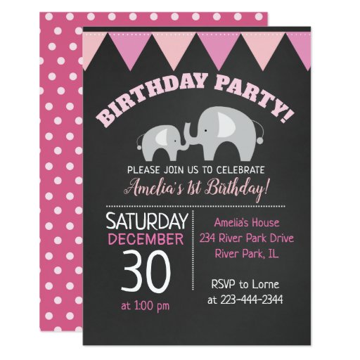 Mod Elephant Girl Chalkboard Birthday Invitation