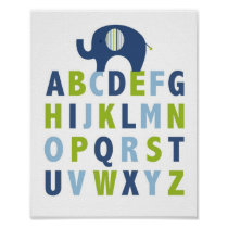 Mod Elephant Nursery Wall Art Print Alphabet