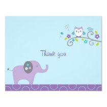 Mod Elephant Owl Flat Thank You Note Cards