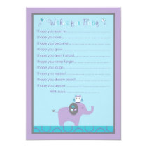 Mod Elephant Owl Wishes for Baby Advice Cards