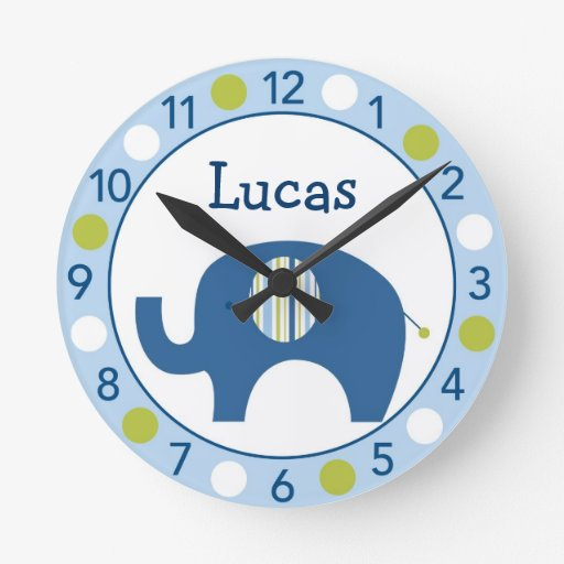 Mod Elephant Personalized Nursery Wall Clock