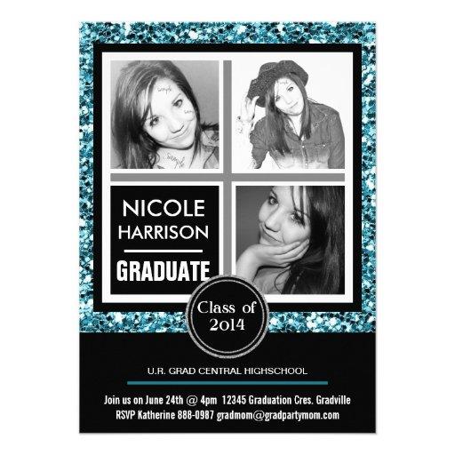 Mod Faux Aqua Blue Glitter Girl 3 Photo Graduation Custom Announcement