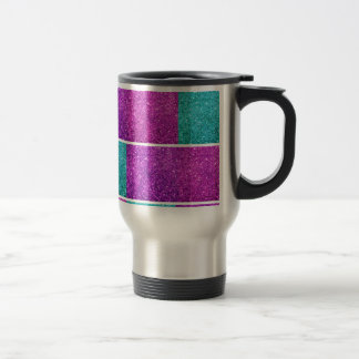 Mod Faux glitter blocks in purple, pink and teal Travel Mug