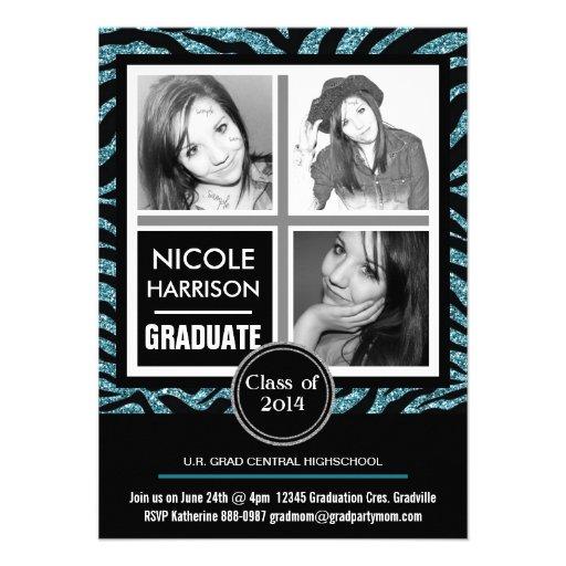 Mod Faux Glitter Zebra Girl 3 Photo Graduation Custom Invitation