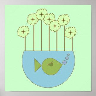 MOD Fishbowl floral retro Impresiones