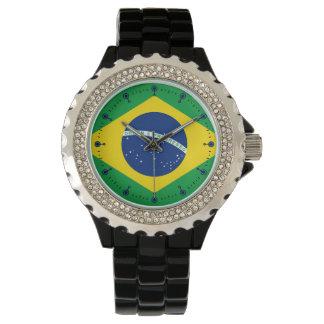 Mod Flag of Brazil Black Enamel Watch