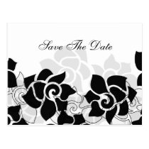 mod floral black Save the Date Postcard