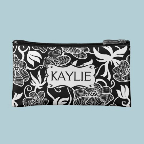Mod Floral in Black and White Personalized Makeup Bags