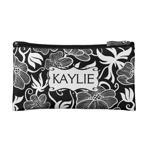 Mod  Floral in Black and White Personalized Cosmetics Bags