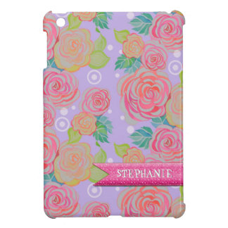 MOD Floral Roses Bright Pastel w Circle Dot Modern iPad Mini Covers