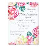 Mod Floral Roses Modern Art Flower Weddings 5x7 Paper Invitation Card