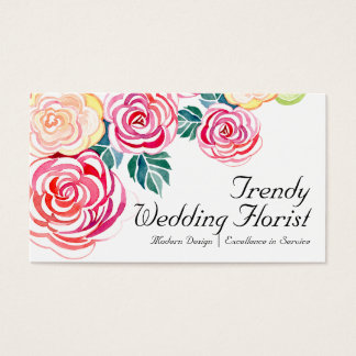 Mod Floral Roses Modern Art Flower Weddings Business Card