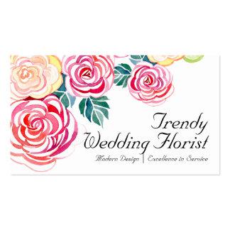 Mod Floral Roses Modern Art Flower Weddings Business Card Templates