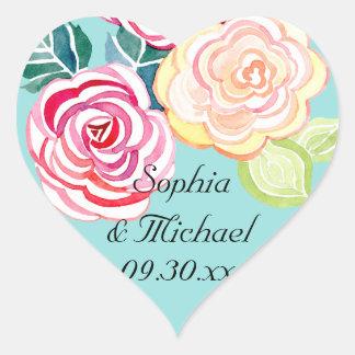 Mod Floral Roses Modern Art Flower Weddings Heart Sticker