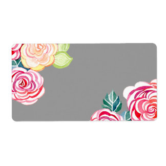 Mod Floral Roses Modern Art Flower Weddings Personalized Shipping Label