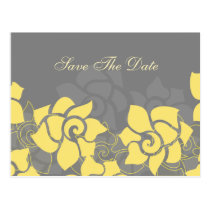 "mod floral ""yellow gray"" Save the Date Postcard"