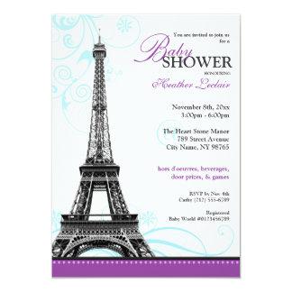 Mod Flourish Eiffel Tower Parisian Baby Shower Card