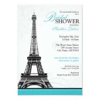 "Mod Flourish Eiffel Tower Parisian Bridal Shower 5"" X 7"" Invitation Card"