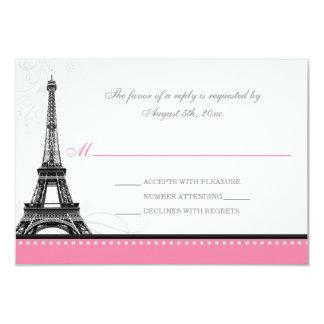 Mod Flourish Eiffel Tower Parisian Pink RSVP Cards
