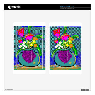 Mod Flower Bouquet When Im Feeling blue Decal For Kindle Fire