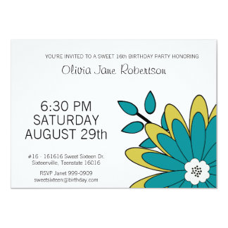 Mod Flower Sweet 16 Party 4.5x6.25 Paper Invitation Card