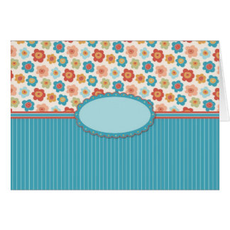Mod Flowers and Stripes Customzable Greeting Card