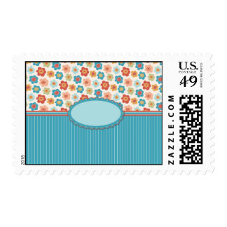 Mod Flowers and Stripes Customzable Stamp