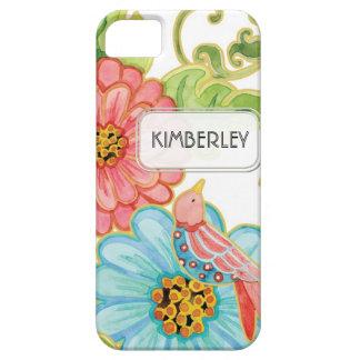 Mod Flowers Cute Fun Bird Floral Swirl Pattern Art iPhone 5 Case
