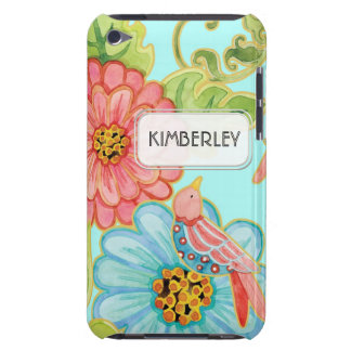 Mod Flowers Cute Fun Bird Floral Swirl Pattern Art iPod Case-Mate Case