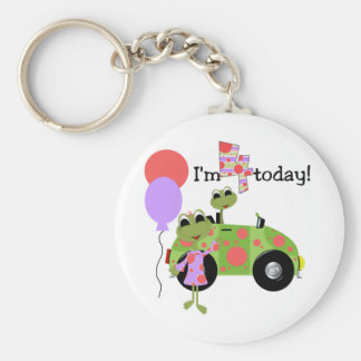 Mod Frogs 4th Birthday Tshirts and Gifts Basic Round Button Keychain