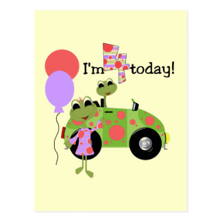 Mod Frogs 4th Birthday Tshirts and Gifts Postcard