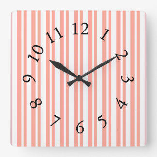 Mod-Fun-Stripes-Peach_Bed-Bath-Kitchen-Decor Square Wall Clock