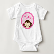 Mod Girl Monkey Baby Birthday T-Shirt