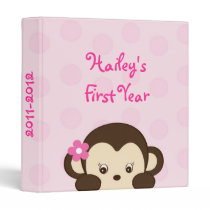 Mod Girl Monkey Baby Photo Album Scrapbook Binder