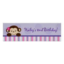 Mod Girl Monkey Baby Shower Banner Sign