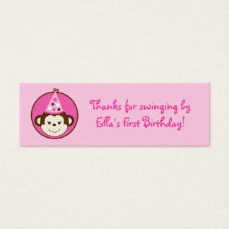 Mod Girl Monkey Birthday Favor Gift Tags