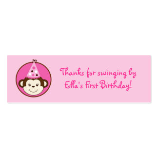 Mod Girl Monkey Birthday Favor Gift Tags Business Card Template