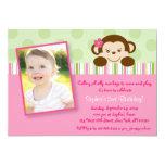 Mod Girl Monkey Birthday Invitations