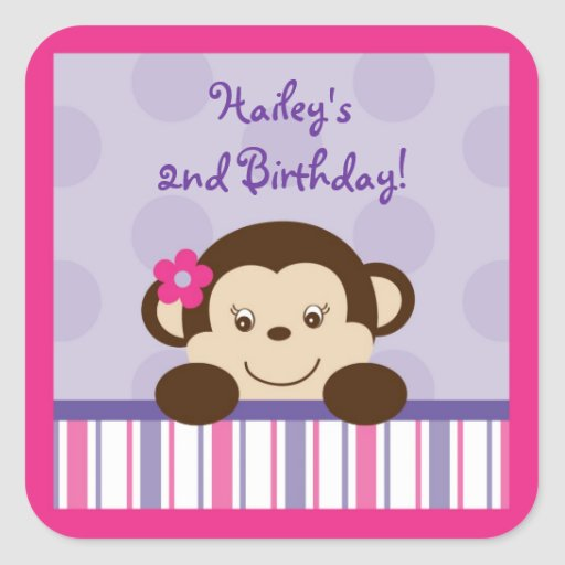 Mod Girl Monkey Cupcake Toppers Stickers