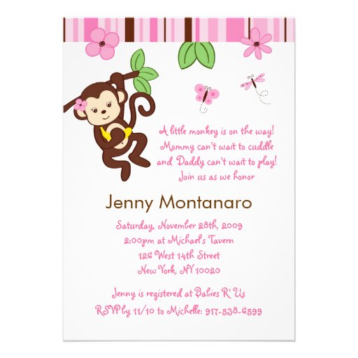 monkey custom baby shower invitation 5 x 7 invitation card