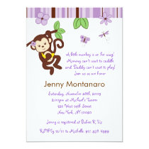 Mod Girl Monkey Custom Baby Shower Invitation