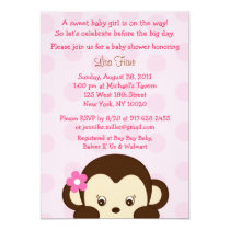 Mod Girl Monkey Custom Baby Shower Invitations