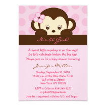 Mod Girl Monkey Dot Custom Baby Shower Invitations
