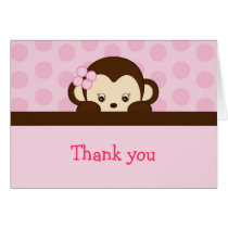 Mod Girl Monkey Dot Thank You Note Cards