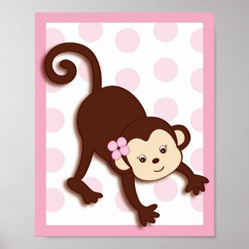 Mod Girl Monkey Dots Nursery Wall Art Print
