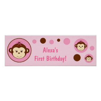 Mod Girl Monkey Dots Personalized Birthday Banner Poster