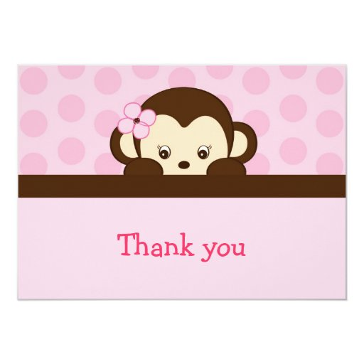 Mod Girl Monkey Flat Thank You Note Cards Announcement