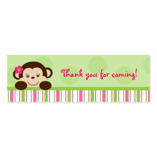 Mod Girl Monkey Monkey Party Favor Gift Tags Double-Sided Mini Business Cards (Pack Of 20)