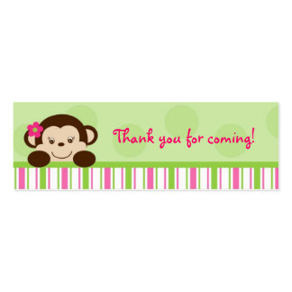 Mod Girl Monkey Monkey Party Favor Gift Tags Mini Business Card