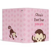 Mod Girl Monkey Monkeys Dots Baby Photo Album Binder